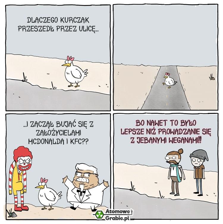 Dlaczego kurczak przeszedł przez ulicę